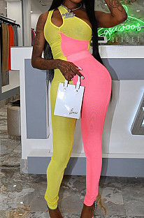 Yellow Pink Personality Oblique Shoulder Hollow Out Spliced Bodycon Jumpsuits XMY070-3