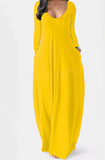 Yellow Autumn Winter Pure Color Sexy V Neck Long Sleeve Long Dress XQ1137-2