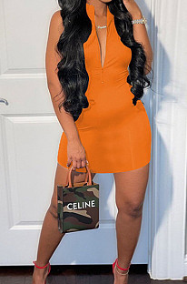 Orange Sleeveless Stand Collar Zipper Back Cross Collect Waist Tank Midi Dress CCN1852-1