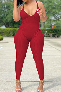 Red Women Sexy Backless Solid Color Club Condole Belt Bodycon Jumpsuits SH7275-2