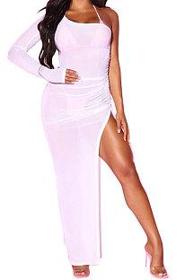 White Euramerican Women Sexy Bodycon Club Long Sleeve Split Long Dress FMM2058-1