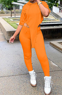 Orange Women Fashion Casual Pure Color Personality Blouse Hooded Long Panst Sets MR2101-1