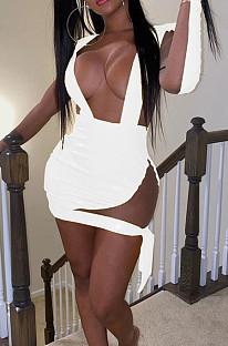 White New PU+Mesh Spliced Low-Cut Long Sleeve Bandage Sexy Mini Dress BN9293-2