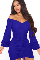 Blue Women Off Shoulder Long Sleeve Loose Solid Color Shirred Detail Mini Dress FMM2065-5