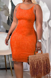 Orange Night Club U Neck Solid Color Collect Waist Jean Legging Tank Midi Dress DQ68011-3