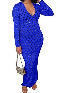 Blue Women Long Sleeve Sexy V Neck Club Hole Long Dress FMM2057-1