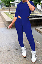 Blue Women Fashion Casual Pure Color Personality Blouse Hooded Long Panst Sets MR2101-7
