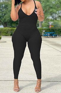 Black Women Sexy Backless Solid Color Club Condole Belt Bodycon Jumpsuits SH7275-1