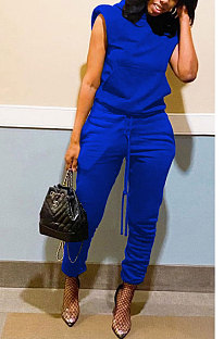 Blue Women Trendy Casual Solid Color Shoulder Pads Sleeveless Pants Sets MR2114-3