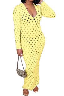 Yellow Women Long Sleeve Sexy V Neck Club Hole Long Dress FMM2057-2