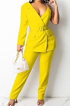 Yellow Fashion One Sleeve Chain Long Sleeve V Neck Belt Long Pants Suit Two-Piece BS1283-4