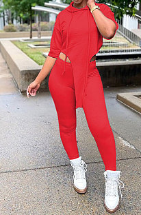 Red Women Fashion Casual Pure Color Personality Blouse Hooded Long Panst Sets MR2101-3