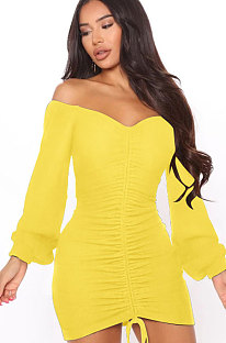 Yellow Women Off Shoulder Long Sleeve Loose Solid Color Shirred Detail Mini Dress FMM2065-2