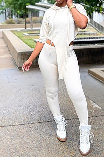 White Women Fashion Casual Pure Color Personality Blouse Hooded Long Panst Sets MR2101-2