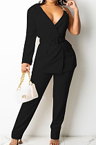 Black Fashion One Sleeve Chain Long Sleeve V Neck Belt Long Pants Suit Two-Piece BS1283-3