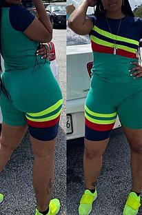 Cyan Green Geometric Graphic Stripe Spliced Short Sleeve Round Neck Shorts Sport Two-Piece DQ68007
