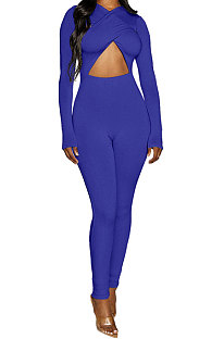 Bright Blue Long Sleeve Sexy Tight Club High Waist Solid WaistBodycon Jumpsuits FMM2062-4