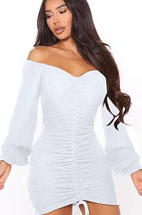 White Women Off Shoulder Long Sleeve Loose Solid Color Shirred Detail Mini Dress FMM2065-1