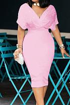 Pink New Night Club Short Sleeve V Neck Beaded Zip Back Bodycon Dress HH8825-3