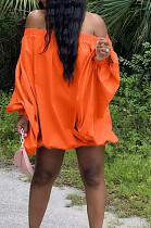 Orange Cute Solid Colur Lantern Sleeve A Word Shoulder Loose Mini Dress YT3286-3