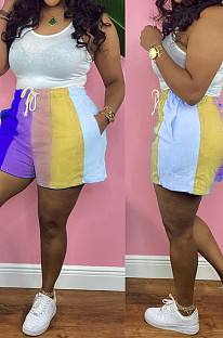 Blue Digital Printing Rainbow Stripe Loose Casual Shorts HG133-3