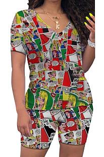 Colorful Cartoon Graphic Printing V Collar Short Sleeve T-Shirt Shorts Sport Sets HMR6017