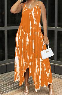 Orange Women Sexy Pocket Split Tie Dye Condole Belt Long Dress AJL2707-1