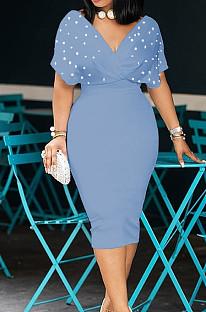 Light Blue New Night Club Short Sleeve V Neck Beaded Zip Back Bodycon Dress HH8825-7