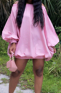 Pink Cute Solid Colur Lantern Sleeve A Word Shoulder Loose Mini Dress YT3286-1