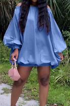 Blue Cute Solid Colur Lantern Sleeve A Word Shoulder Loose Mini Dress YT3286-2