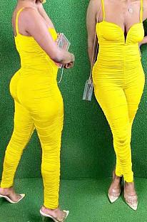 Yellow Night Club Condole Belt Low Cut Solid Colur Bodycon Jumpsuits HMR6015-3