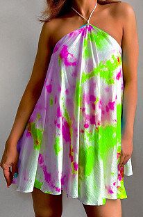 Green Sexy Halter Neck Backless Digital Tie Dye Printing Loose Swing Dress ZDD31157-2