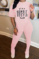 Pink Women Printing Fashion Short Sleeve Round Neck Split Pants Sets AYQ0501-2