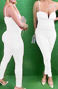 White Night Club Condole Belt Low Cut Solid Colur Bodycon Jumpsuits HMR6015-1