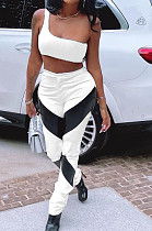 White Summer Sleeveless Dew Waist Strapless Imitation Leather Spliced Long Pants Sports Sets YMM9082-1