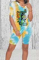 Blue Casual Printing V Neck Short Sleeve T-Shirt Shorts Two-Piece HMR6018-3