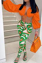 Orange Fashion Lapel Neck Lantern Sleeve Tied  Crop Top High Waist Printing Pants F88380-2