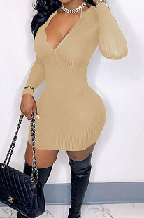 Khaki Ribber Square Neck Long Sleeve Embroidery Zipper Sexy Hip Dress HH8983-1