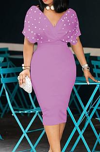 Light Purple New Night Club Short Sleeve V Neck Beaded Zip Back Bodycon Dress HH8825-6