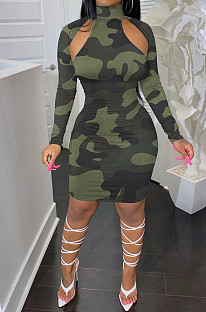 Army Green Camouflage Printing Half High Neck Long Sleeve Hollow Out Collcet Waist Hip Dress YMM9055-1