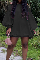Black Cute Solid Colur Lantern Sleeve A Word Shoulder Loose Mini Dress YT3286-4