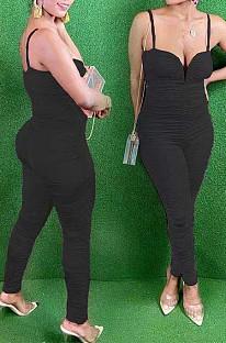 Black Night Club Condole Belt Low Cut Solid Colur Bodycon Jumpsuits HMR6015-2