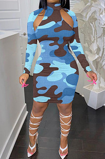 Sky Blue Camouflage Printing Half High Neck Long Sleeve Hollow Out Collcet Waist Hip Dress YMM9055-3