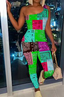 Green Nigh Club Women One Shoulder Sleeveless Digital Printing Bodycon Jumpsuits HG117-2