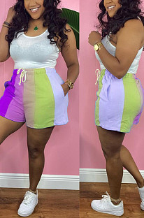 Purple Digital Printing Rainbow Stripe Loose Casual Shorts HG133-4