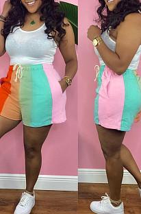 Orange Digital Printing Rainbow Stripe Loose Casual Shorts HG133-5