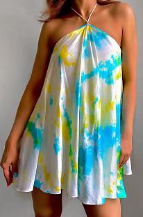 Cyan Sexy Halter Neck Backless Digital Tie Dye Printing Loose Swing Dress ZDD31157-3