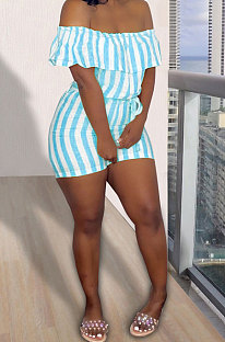 Sky Blue Euramerican Women Sexy Falbala A Word Shoulder Strap Printing Romper Shorts AYQ05013-2