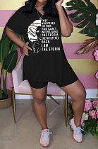 Black Fashion Printing Split Blouse Short Sleeve Casual Shorts Sets AYQ0509-2