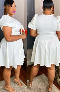 White Short Sleeve V Neck Bowknot Solid Color Swing Dress JC7064-1